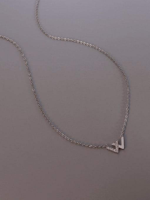 Steel Titanium Steel Cubic Zirconia Minimalist Letter W  Necklace