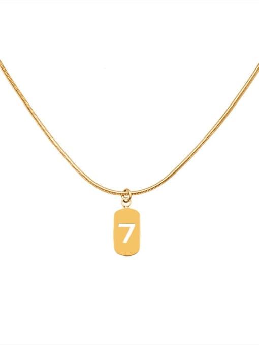 MAKA Titanium Steel Minimalist  Hollow Number 7 Necklace 0