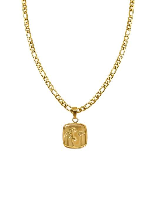 Gold texture Flower Necklace 40+5cm Titanium Steel Geometric  Flower Vintage Necklace
