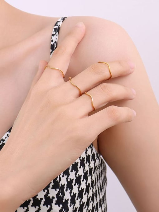 A104 gold ring Titanium Steel Irregular Minimalist Band Ring