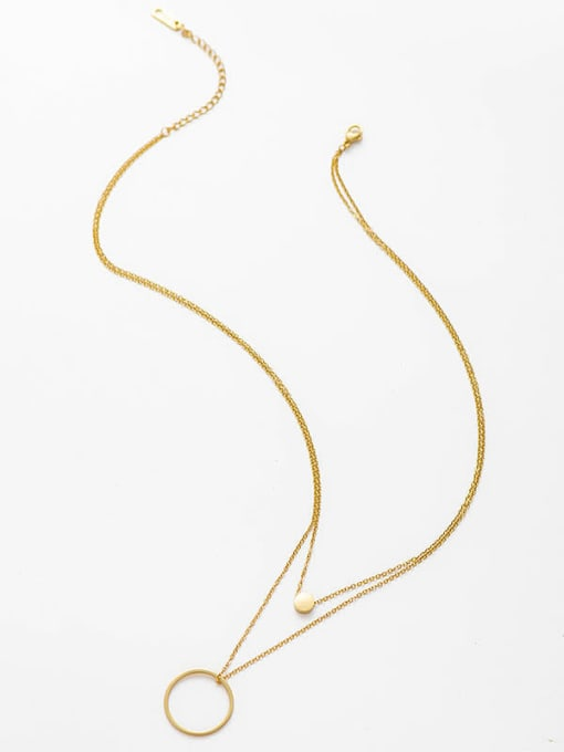 YAYACH Simple circle double necklace 0