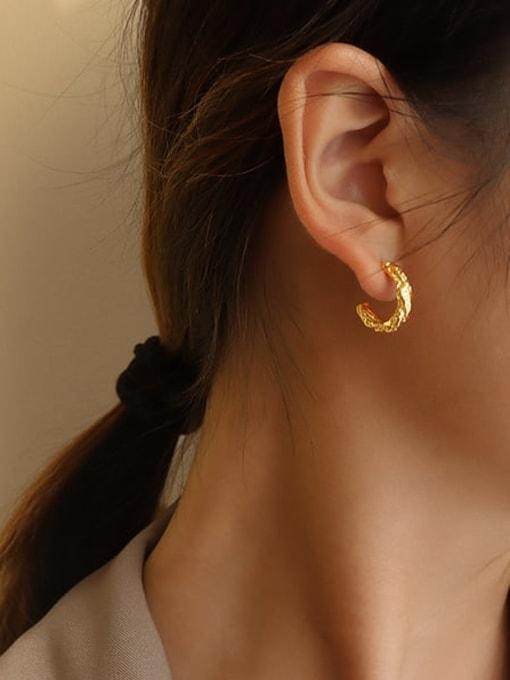 MAKA Titanium Steel C shape Minimalist Stud Earring 1