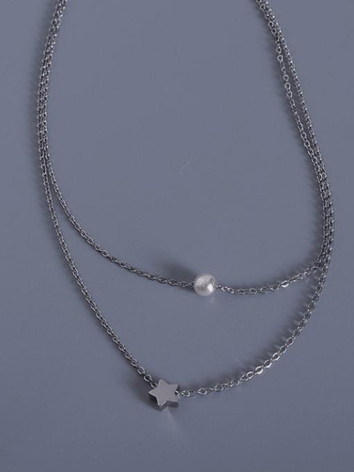 Steel Titanium Steel Star Minimalist Multi Strand Necklace