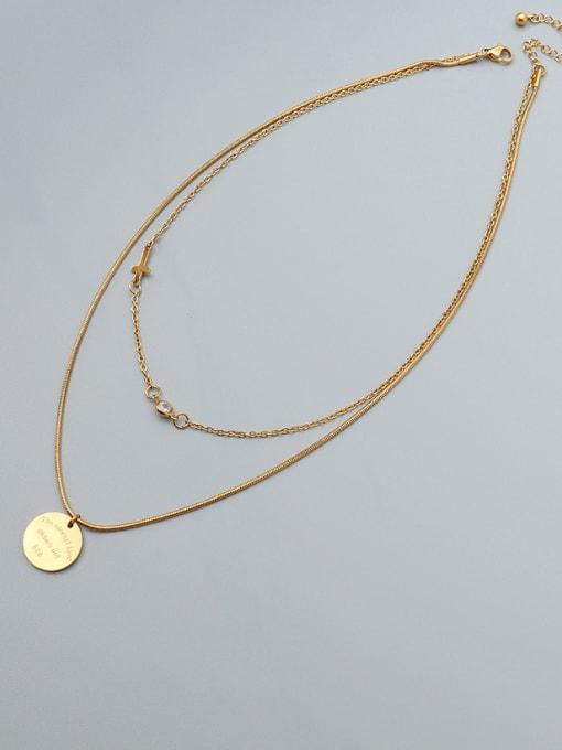 Gold Titanium Steel Geometric Minimalist Multi Strand Necklace