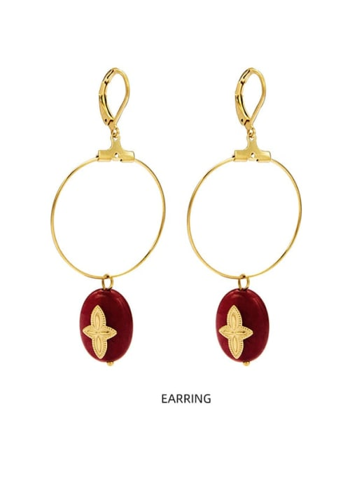 Red Malachite new style temperament versatile large earrings titanium steel earrings