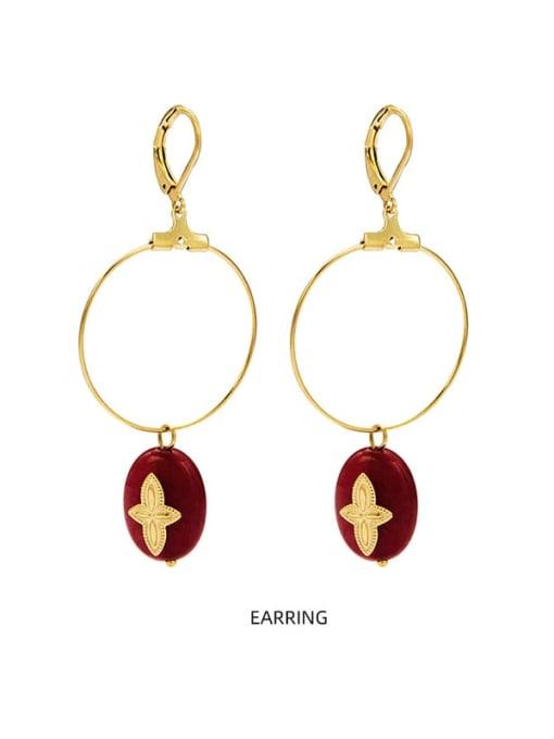 YAYACH Malachite new style temperament versatile large earrings titanium steel earrings 1
