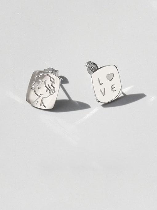 Steel Earrings Titanium Steel Asymmetry Geometric Portrait Letters Cute Stud Earring