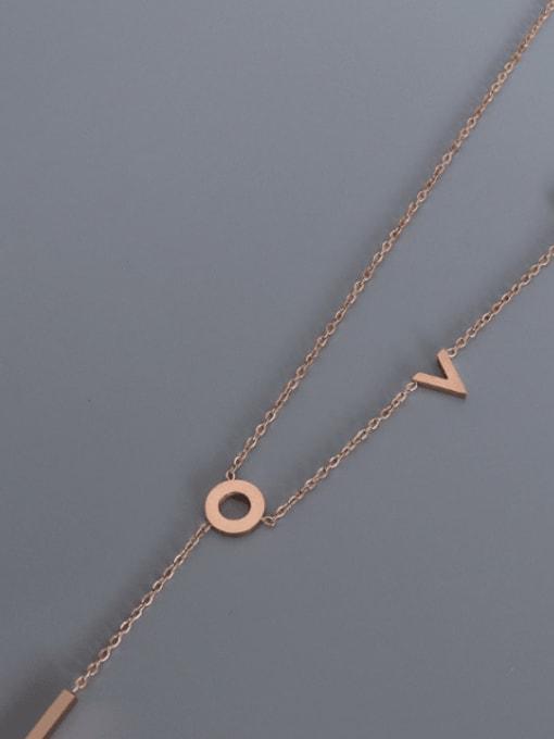 Love Tassel Necklace rose 42+5cm Titanium Steel Letter Tassel Minimalist Tassel Necklace