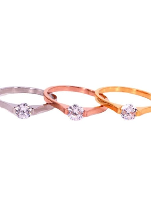 K.Love Titanium Steel Rhinestone Round Minimalist Band Ring