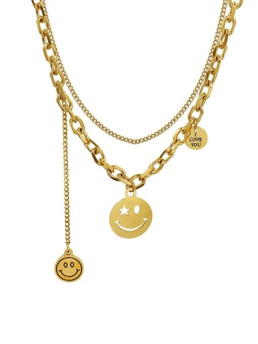 MAKA Titanium Steel Smiley Vintage Multi Strand Necklace 0