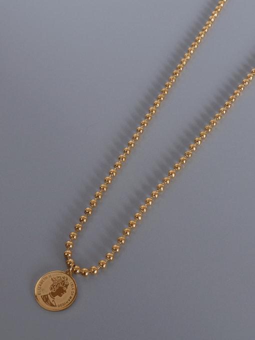 gold round bead  necklace Titanium Steel Geometric Vintage Multi Strand Necklace