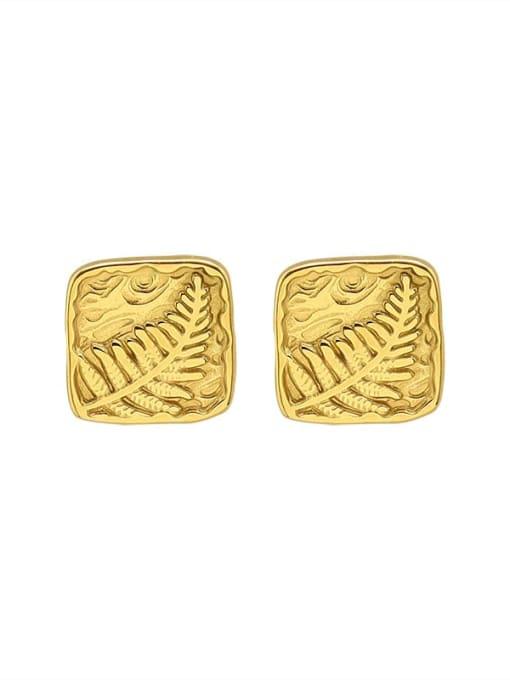 gold Titanium Steel Square Vintage Stud Earring