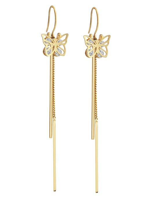 Gold Zirconium titanium steel butterfly fashion thin fairy gas long Tassel Earrings