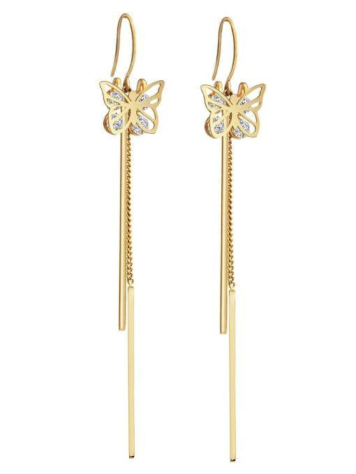 YAYACH Zirconium titanium steel butterfly fashion thin fairy gas long Tassel Earrings 1