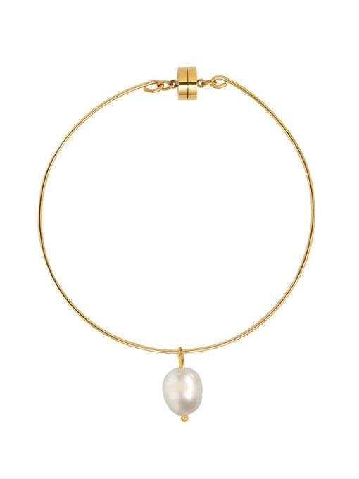 Gold Bracelet Titanium Steel Freshwater Pearl Irregular Minimalist Band Bangle