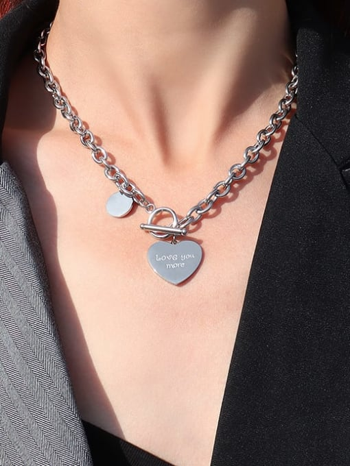 MAKA Titanium Steel Heart Vintage Hollow Chain Necklace 3