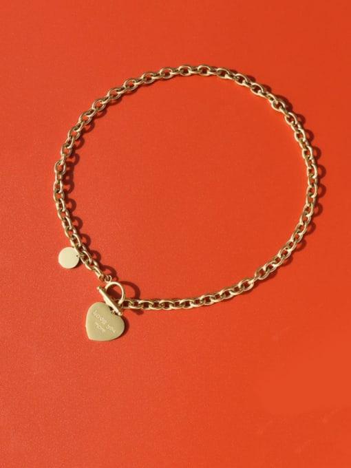 Gold necklace 45cm Titanium Steel Heart Vintage Hollow Chain Necklace