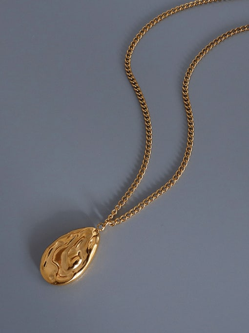 gold Titanium Steel Minimalist Irregular Water Drop  Necklace