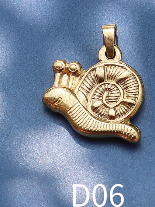 D06 golden snail Titanium Steel Animal  Bird Cute Pendant