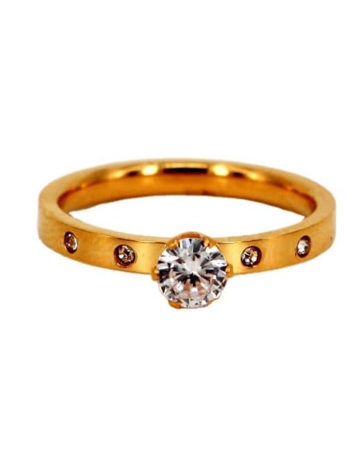 K.Love Titanium Steel Rhinestone Round Minimalist Band Ring 4