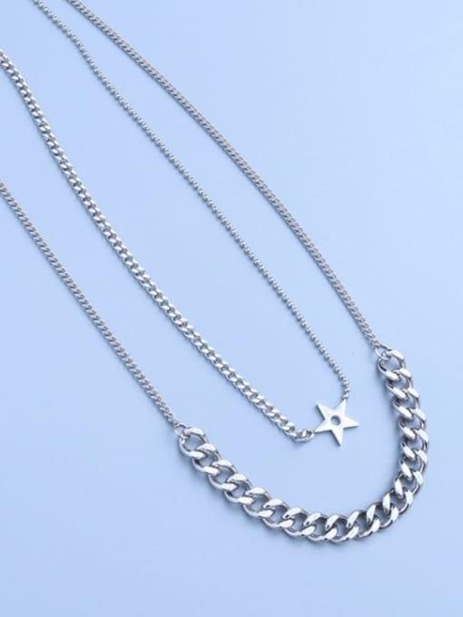 Steel double necklaces Titanium Steel Geometric Hip Hop Multi Strand Necklace