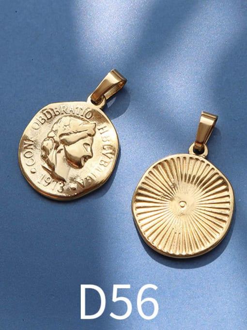 D56 gold Stainless steel Geometric  Vintage Pendant