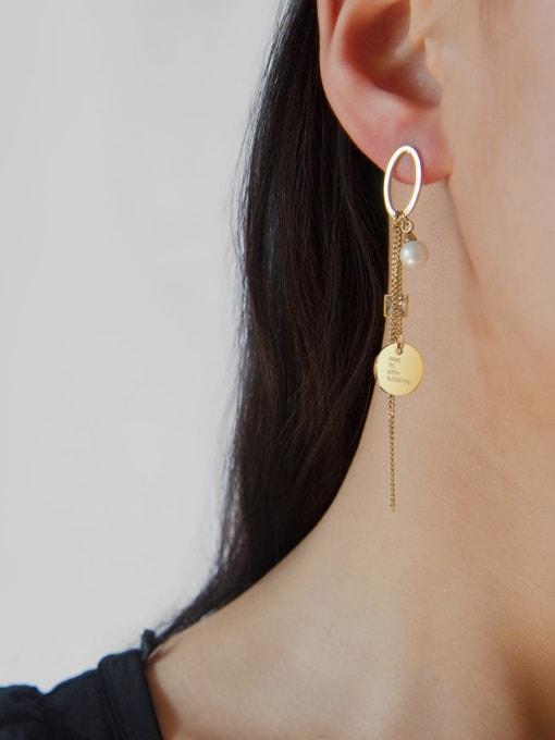 YAYACH Crystal geometric ring pearl temperament exquisite titanium steel earrings 1