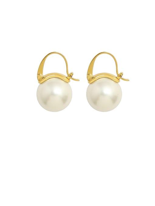MAKA Titanium Steel Imitation Pearl Round Minimalist Huggie Earring