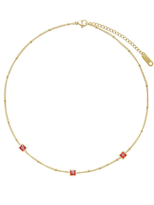 Red French elegant small square combination necklace