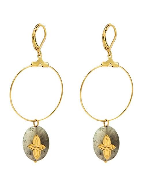 YAYACH Malachite new style temperament versatile large earrings titanium steel earrings 0