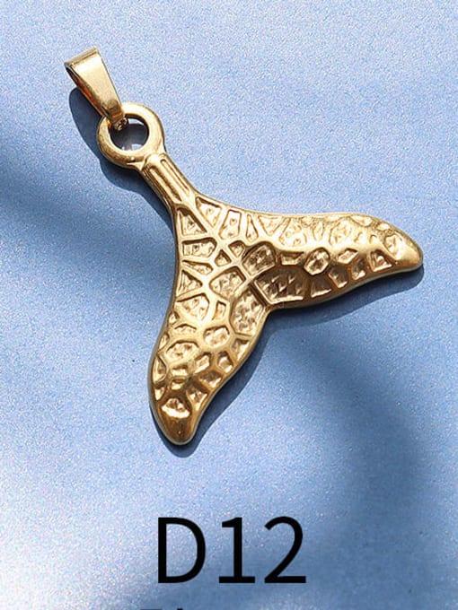D12 gold printing fishtail Titanium Steel  Moon Star Vintage Pendant
