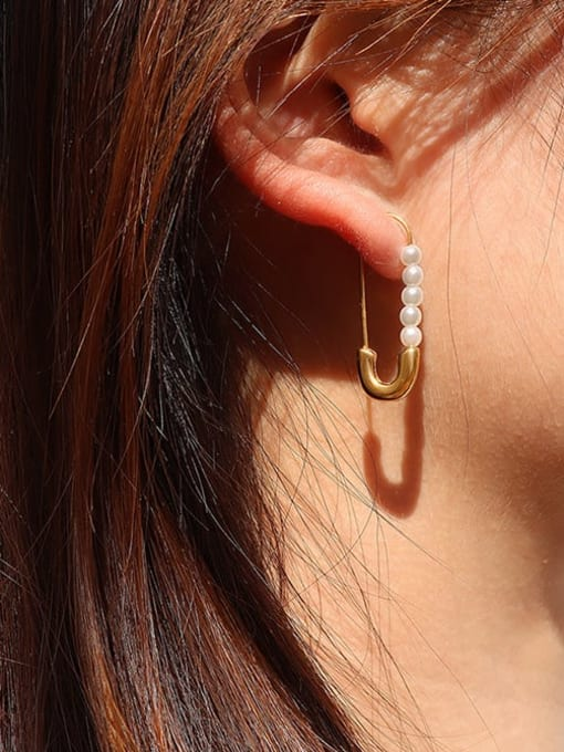 MAKA Titanium Steel Imitation Pearl Pin Minimalist Drop Earring 1