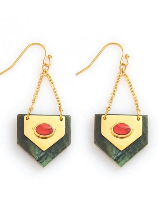 Green Titanium steelgeometric simple fashion earrings