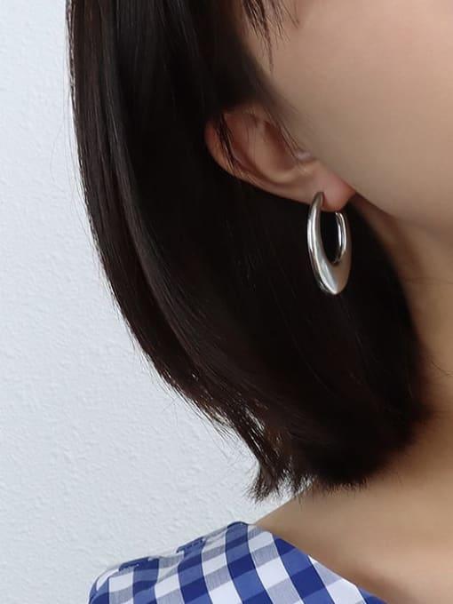 steel color U-shaped Earrings Titanium 316L Stainless Steel Smooth Geometric Vintage Stud Earring with e-coated waterproof