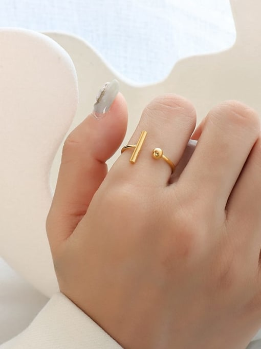 A052 gold T-shaped opening ring Titanium 316L Stainless Steel Geometric Minimalist Band Ring with e-coated waterproof
