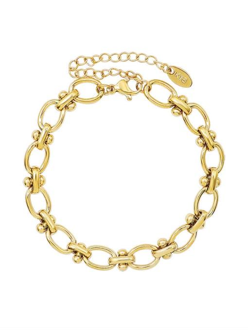 MAKA Titanium Steel Hollow  Geometric Chain Vintage Link Bracelet 0