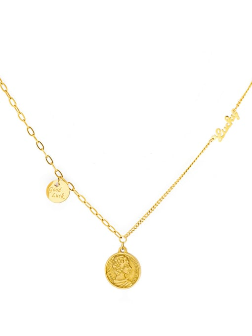 gold French simple ins style letter titanium steel clavicle necklace