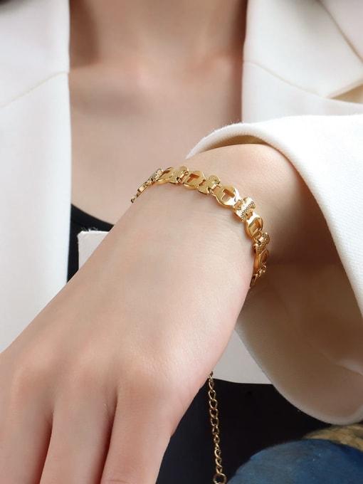 E090 gold T-shaped  16 +5cm Titanium Steel Geometric Minimalist Link Bracelet