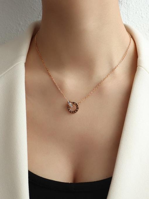 Rose Gold  40+5cm Titanium Steel Minimalist Geometric Rhinestone Earring and Necklace Set