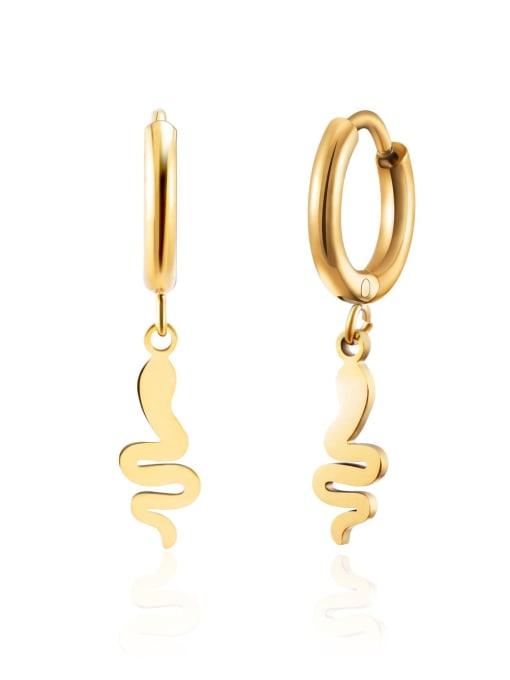 Green 18K Gold geometric snake titanium steel earrings