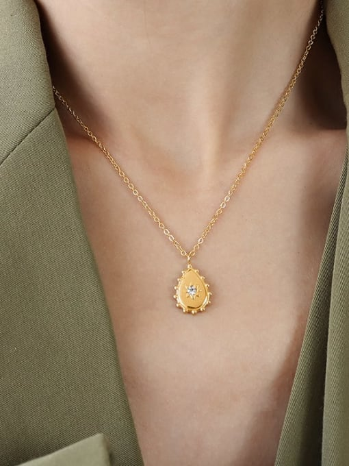 MAKA Titanium 316L Stainless Steel Rhinestone Water Drop Vintage Necklace with e-coated waterproof 1