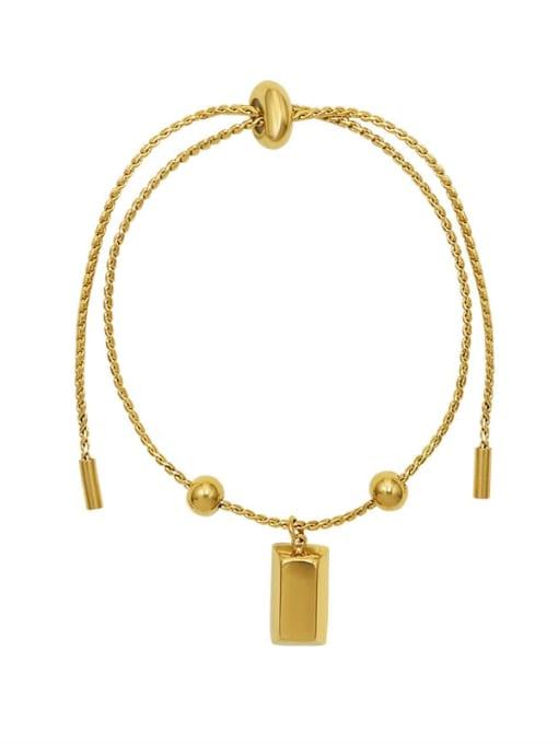Gold Titanium Steel Square Minimalist Adjustable Bracelet