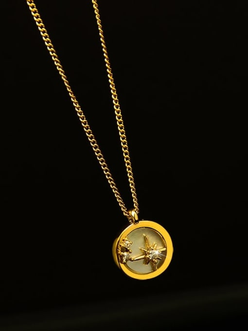 Gold Titanium Steel Shell Geometric Minimalist Necklace