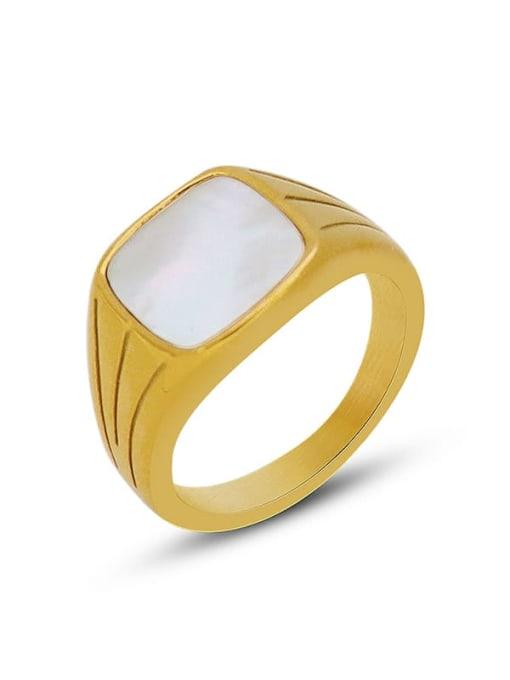 MAKA Titanium Steel Shell Geometric Vintage Band Ring 0