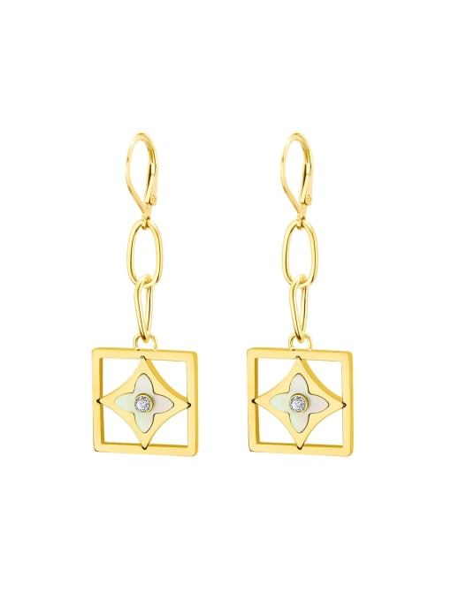 f296 Gold Earrings Titanium 316L Stainless Steel Shell Minimalist Geometric Earring and Necklace Set with e-coated waterproof