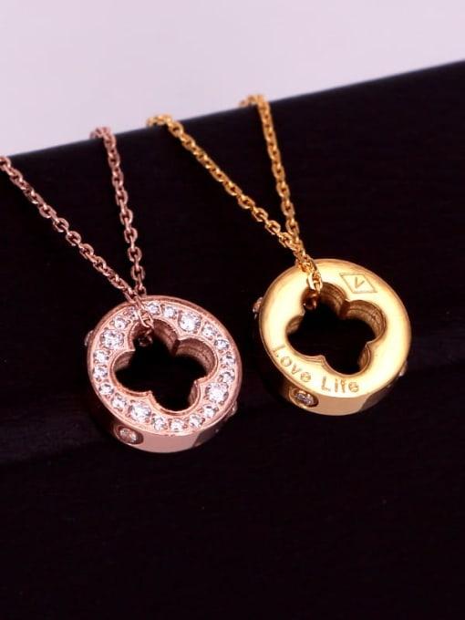 K.Love Titanium Steel Cubic Zirconia Clover Vintage Necklace 1