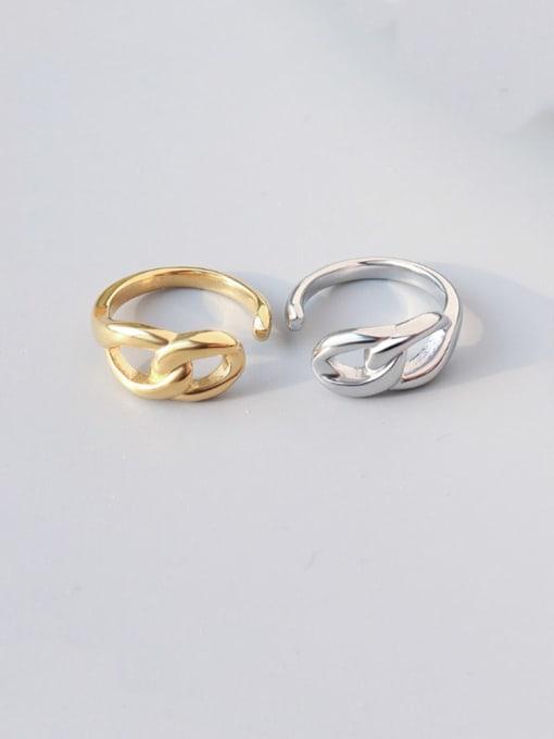 MAKA Titanium Steel  Hollow Geometric Minimalist Band Ring 2