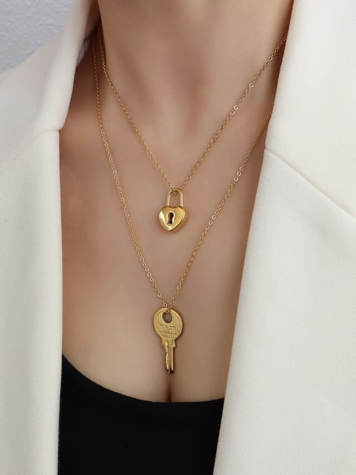 Gold Lock Key Necklace Titanium Steel Key Minimalist Necklace