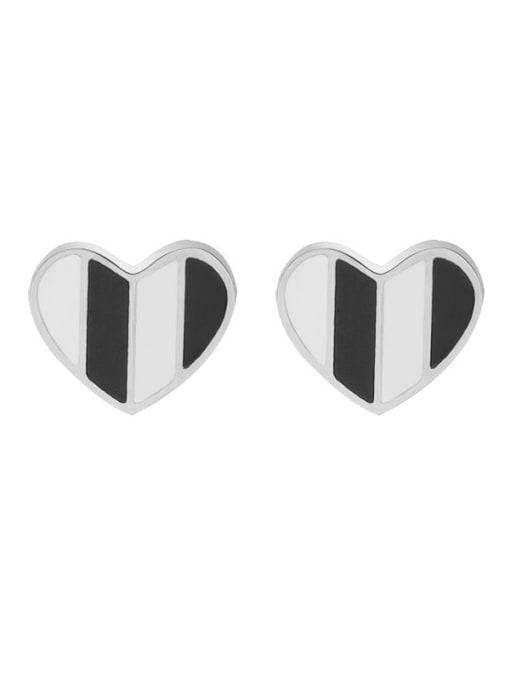 f412 Steel Titanium Steel Shell Heart Minimalist Stud Earring