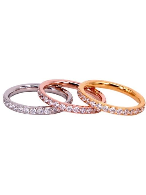 K.Love Titanium Steel Cubic Zirconia Round Minimalist Band Ring 0